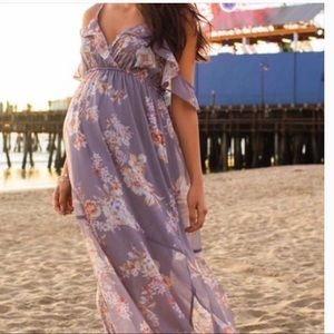 Jessica Simpson Ruffled Floral Maternity Dress
